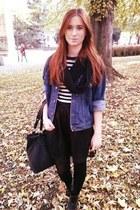 black F&F boots - blue second hand jacket - black Sinsay bag