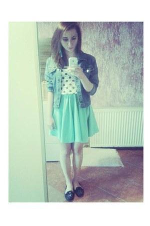 aquamarine DIY skirt - blue jacket - white Sinsay shirt