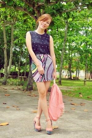 black studded vintage top - coral backpack Yhansy bag