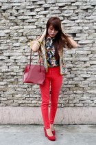 red skinny pants - beige floral blazer - ruby red leather Gucci bag