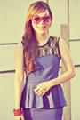Violet-peplum-dress-light-yellow-native-bag-red-star-shaped-sunglasses