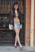 white thrifted vintage bag - light blue random brand shorts - black crochet thri