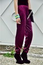 Magenta-velvet-pants-heather-gray-metallic-gifi-clothing-purse