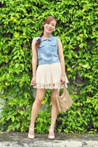 cream lace Sheinside skirt - tan Gucci bag - white cocktail Chemjoy ring