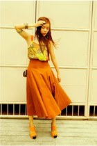 burnt orange maxi skirt vintage skirt - dark brown chain vintage purse