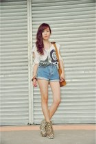 dark khaki leopard Asian Vogue boots - blue denim shorts DIY shorts
