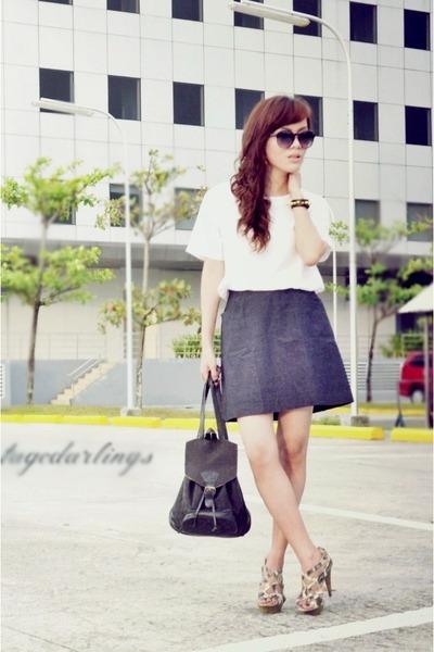 dark gray Its Vintage Darling skirt - white Its Vintage Darling top