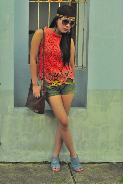 violet So Fab shoes - army green denim Hip Couture shorts - light orange crochet