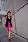 Hot-pink-fringe-dress-yellow-neon-bubbles-necklace-black-button-down-vest
