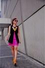 Hot-pink-fringe-dress-yellow-neon-bubbles-necklace-black-button-down-vest