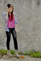 light brown leopard print Asian Vogue boots - hot pink top - black leather pants