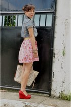 red suede kara wedges - light pink floral print July dress