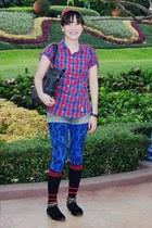 black suede round toe Kikis Closet shoes - blue animal print Freeway leggings -