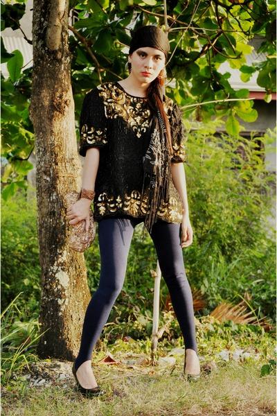 navy random brand leggings - black used as bandana vintage scarf - bronze vintag