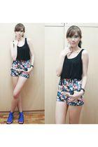 Max & Mara Singapore top - MinkPink shorts - stella luna shoes - Bazaar accessor