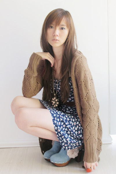 Bershka cardigan - Hong Kong shoes - cotton on dress - Japan necklace - ring H&M