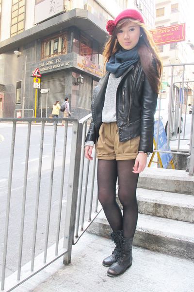 leather korea jacket - Aldo boots - H&amp;M hat - Topshop sweater - Prada bag