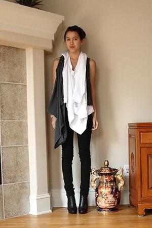 complex geometries shirt - Harputs OWN vest - BDG jeans - Jessica Simpson boots