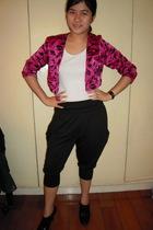 black Dark White pants - black Zara shoes - white random t-shirt - pink vintage