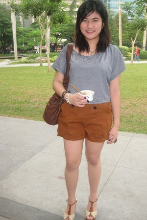 blue landmark top - brown Seventy Seven shorts - brown SM shoes - brown Terranov