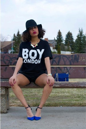 blue Rebecca Minkoff bag - black Nasty Gal hat - black Boy London shirt