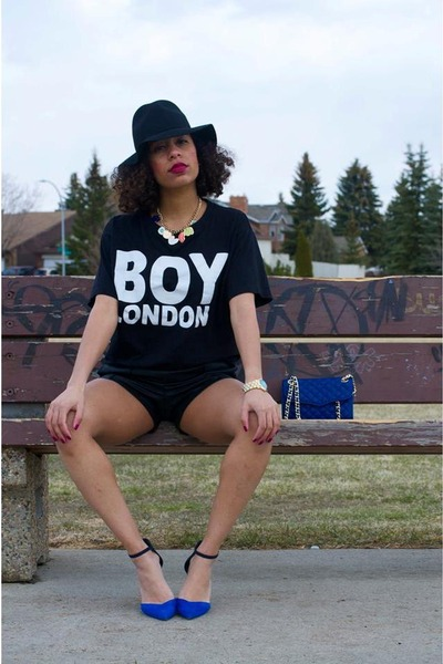 blue Rebecca Minkoff bag - black Nasty Gal hat - black Boy London shirt
