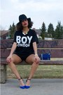 Black-nasty-gal-hat-black-boy-london-shirt-blue-rebecca-minkoff-bag