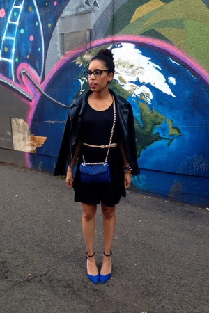 black antistar dress - black Wet Seal jacket - blue Rebecca Minkoff bag