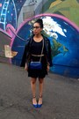 Black-antistar-dress-black-wet-seal-jacket-blue-rebecca-minkoff-bag