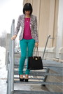 Black-h-m-blazer-turquoise-blue-forever-21-pants-hot-pink-smart-set-top