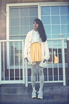 ivory Grimoire tights - ivory boots - ivory H&M cardigan - white Murua blouse