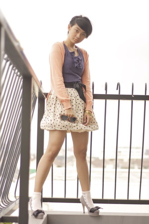 eggshell polkadot Cinema Club skirt - peach petticoat American Apparel skirt