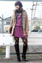 purple Uniqlo hat - beige jacket - gray blazer - purple dress - green tights - b