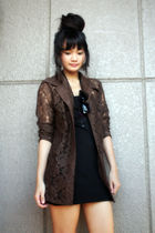 brown top - black cerealboxlabelscom dress - black Mokoyacom accessories - black