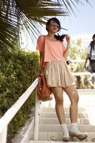 salmon American Apparel top - tawny bag - tan American Apparel skirt