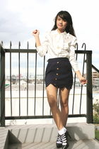 white top - blue skirt - white socks - black H&M shoes