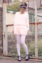 light pink tulle Forever 21 skirt - white opaque iwearsin tights
