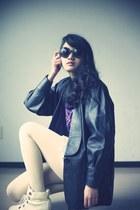 black vintage blazer - ivory boots - ivory Forever 21 tights