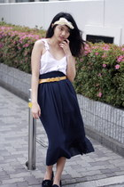 periwinkle chiffon top - navy American Apparel skirt - mustard Cinema Club belt