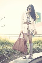 ivory Love dress - heather gray We Love Colors tights - burnt orange bag