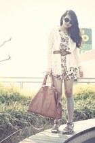 ivory Love dress - heather gray We Love Colors tights - burnt orange bag