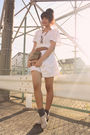 White-marc-jacobs-dress-brown-vintage-belt-gray-socks-beige-shoes-brown-