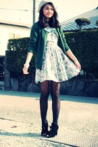black Liz Lisa boots - navy American Apparel tights - forest green cardigan