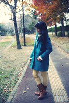 teal from Seoul coat - burnt orange Forever 21 boots - cream H&M sweater