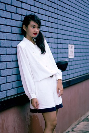 navy vintage shorts - white vintage blouse