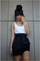 black skirt - white dress Zara top - white accessories