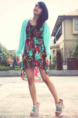 red dress - light blue Cinema Club cardigan - aquamarine wedges