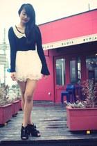 black dress - black Liz Lisa boots - red Lime Crime accessories
