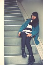 teal coat - black Topshop boots - navy American Apparel sweater