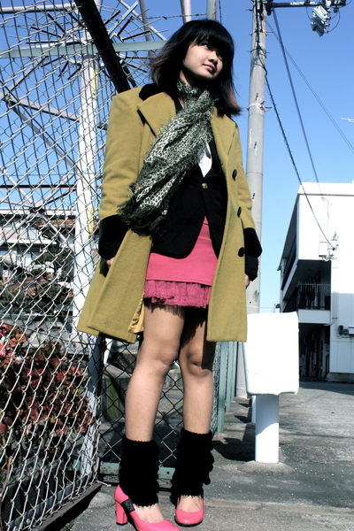 green random brand coat - green random brand scarf - black random brand blazer -
